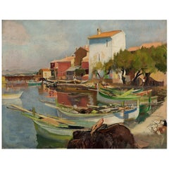 Oil Painting of the Harbour at Brusc