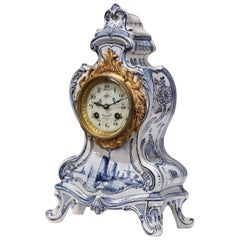 Mid-19th Century French Hand-Painted Blue and White Faience Mantel Clock
