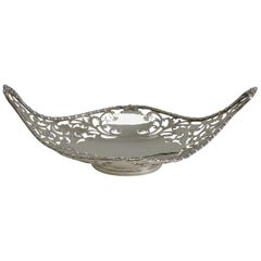 Antique English Sterling Silver Basket or Dish, 1908