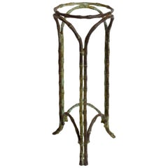 Hollywood Regency Bronze Faux Bamboo Pedestal Vase Planter Garden Element