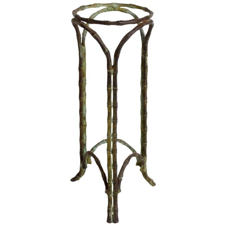 Hollywood Regency Bronze Faux Bamboo Pedestal Vase Planter Garden Element For Sale