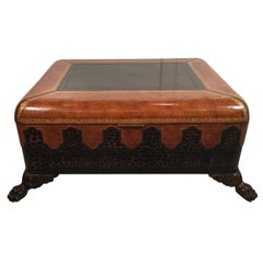 Maitland Smith Leather Coffee Table with Faux Leopard Design, Top Opens