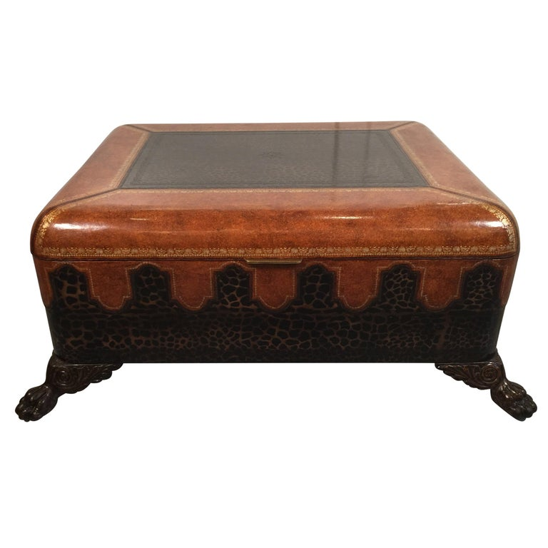Maitland Smith Leather Coffee Table with Faux Leopard Design, Top Opens For Sale