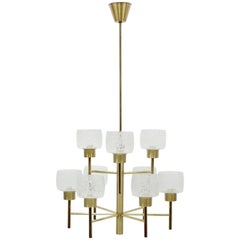 Midcentury Swedish Brass Chandelier, 1960s