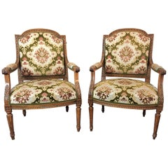 Pair of Louis XVI Style Beech Armchairs in Green and Pink Fabric, circa 1880