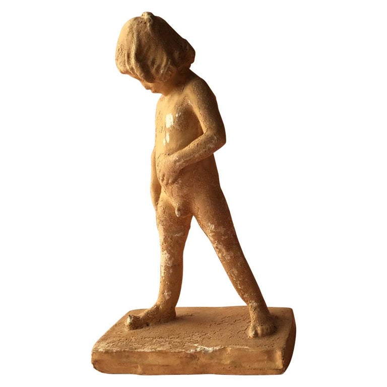 "Antique Swedish Terracotta ""Elof"" Boy Figurine by Christian Eriksson, 1901 For Sale"