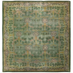 Beautiful Green Background Antique Arts & Crafts Donegal Irish Rug