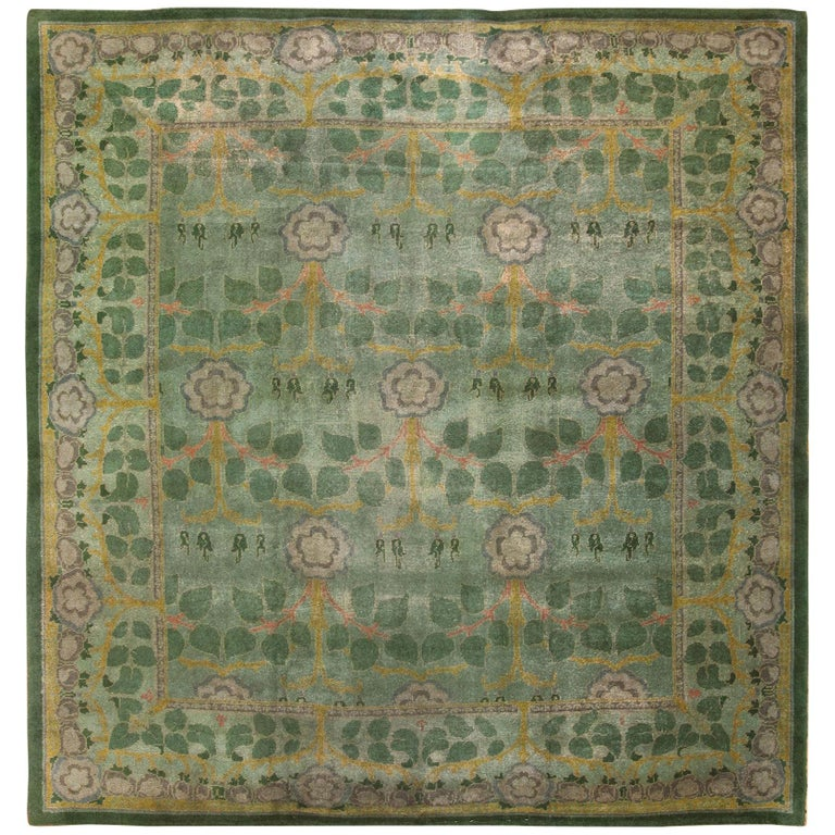 Antique Arts And Crafts Rugs: Beautiful Green Background Antique Arts And Crafts Donegal