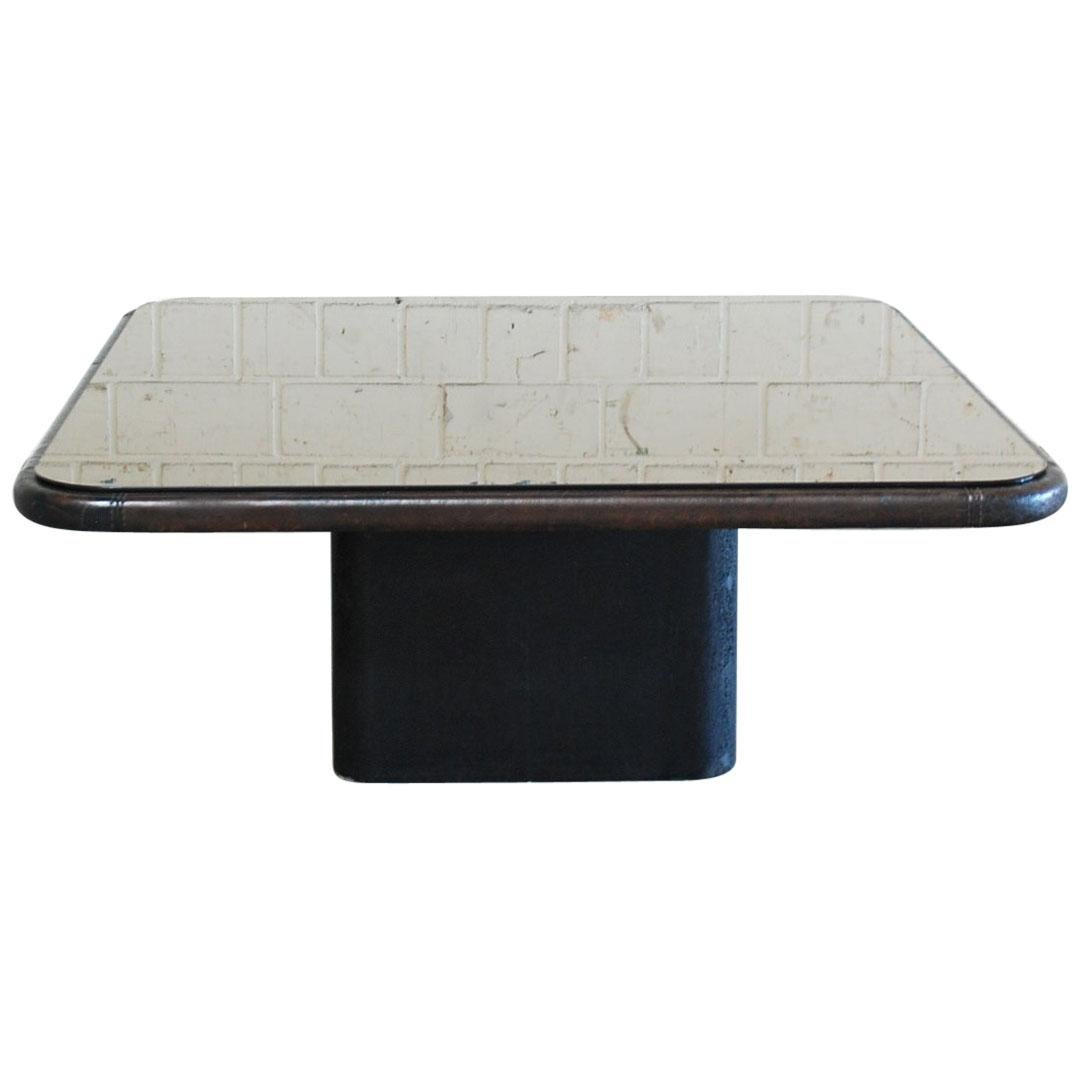 De Sede Ds 3011 Mirror and Leather Coffee Table, 1970