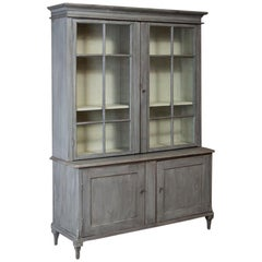 Large Antique 19th Century Swedish Glass Front Bookcase Painted Gray
