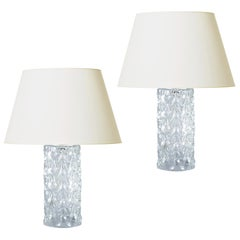 Pair of Table Lamps with Sculptural Faceted Crystal Bases by Orrefors