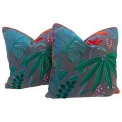 Tropical Flora Pillows with Pink Trim