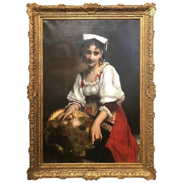 19th Century Portrait of an Italian Beauty by Étienne Adolphe Piot For Sale