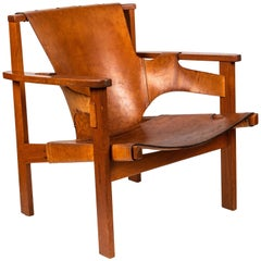 Carl Axel Acking 'Trienna' Chair in Patinated Brown Leather, circa 1957
