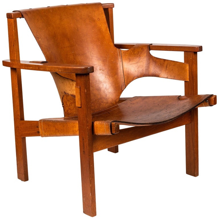 Carl Axel Acking 'Trienna' Chair in Patinated Brown Leather, circa 1957 For Sale