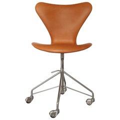 Arne Jacobsen Office Chair Model 3117 Cognac Leather by Fritz Hansen in Denmark