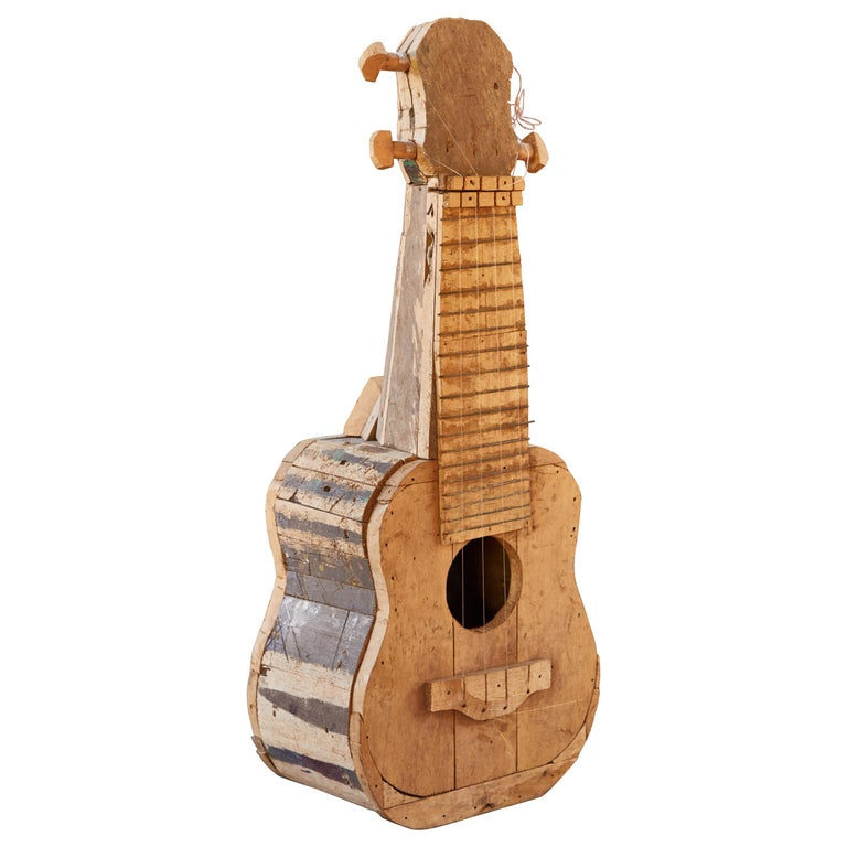 Large Reclaimed Wood Guitar Sculpture by African Folk Artist Nii Adum For Sale
