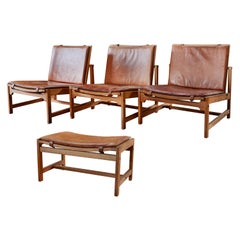 Set of 3 Arne Karlsen & Peter Hjort Leather & Wicker Lounge Chairs with Ottoman