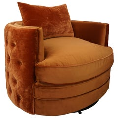 French Design Velvet and Swivel Large Armchair
