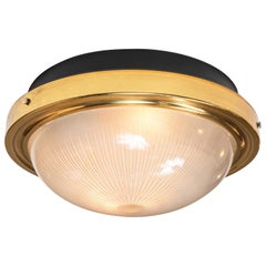 1960s Sergio Mazza Brass and Glass Wall or Ceiling Light for Artemide