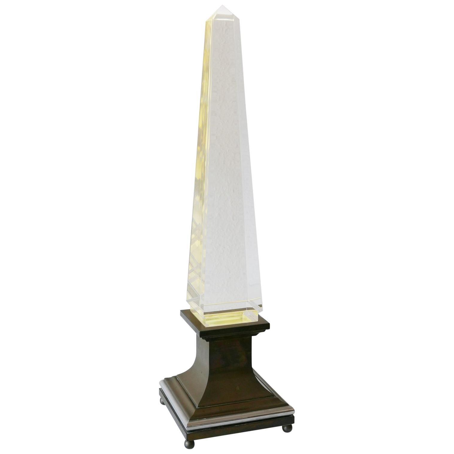 Lucite Obelisk Table Lamp by Sandro Petti for Maison Jansen, France, 1970s