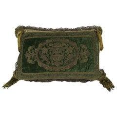 French Metallic Embroidered Silk Velvet Pillow with Metallic Tassels