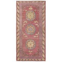 Kleiner Stammeskunst Lila Antiker Khotan Teppich