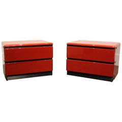1980s Modern Cherry Red Lacquered Nightstands by Roger Rougier