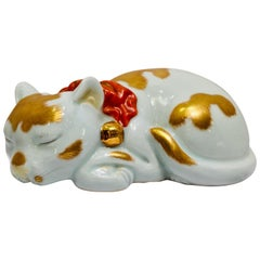 Kutani Japanese Porcelain Small Sleeping Cat circa 1920s Handmade Hand Painted
