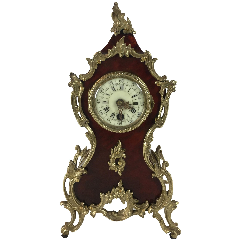 Beautiful 19th Century French Cartel Mantel or Desk Clock Ormolu Mounts
