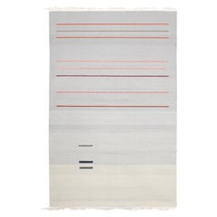 Contemporary Handwoven Wool Rug Pink and Gray Toned Kilim Tapestry