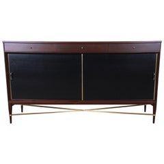 Paul McCobb Calvin Group Mahogany and Brass Credenza