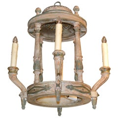 French Painted Wood Chandelier