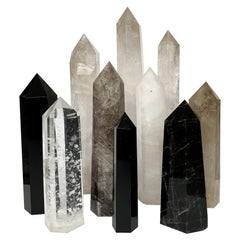 Set of 10 Large Quartz and Obsidian Crystal Obelisks