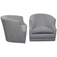 Pair of Barrel-Backed Swivel Chairs