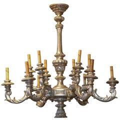 Italian Carved Silver Gilt Chandelier