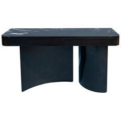 Large Crescent Console in Contemporary Blackened Steel with Black Marble Top