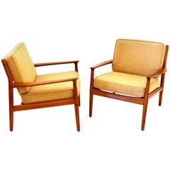 Pair of Danish Modern Teak Club Chairs by Grete Jalk for Glostrup Mobelfabrik