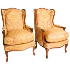 Pair of Louis XV Style Walnut Framed Wing Back Armchairs