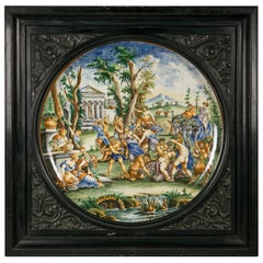 Pair of Massive Framed Italian Majolica Chargers, circa 1880