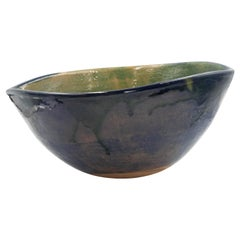 Mexican Fruit Bowl Ceramic Clay Lead Free Blue Green Contemporary Rustic Pottery