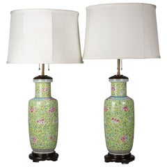 Pair of Chinese Porcelain Famille Rose Vases Mounted as Lamps, circa 1860