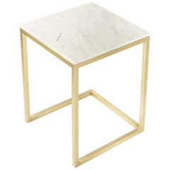 Esopo Modern Handmade Brass Side Table with White Carrara Marble Square Top