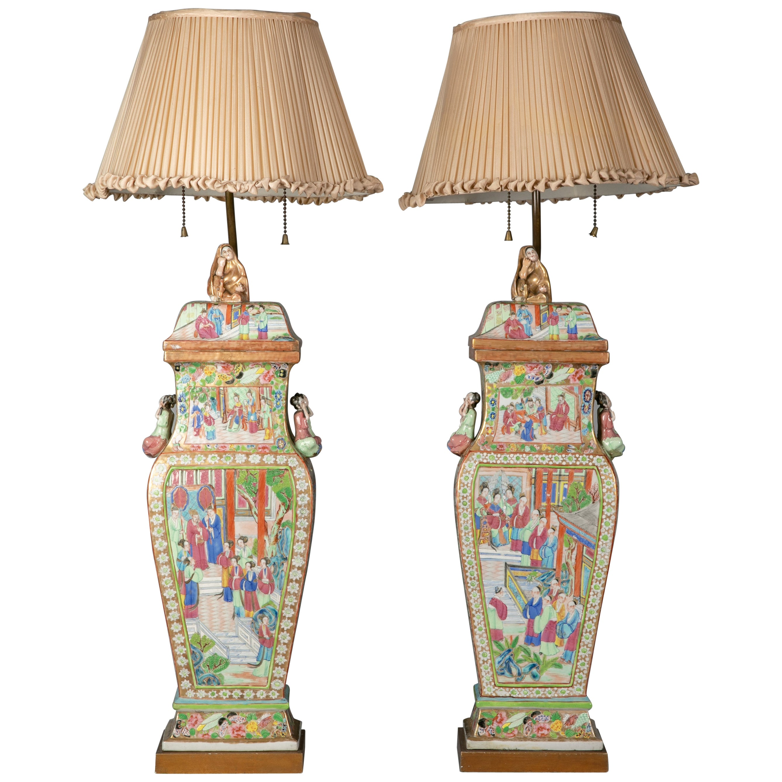 Pair of Fine Chinese Porcelain Rose Mandarin Covered Vases as Lamps, circa 1840