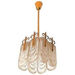 Mitte des Jahrhunderts Moderner Messing & Glas Leuchter Kronleuchter von Kaiser Leuchten