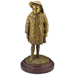 19th Century Henryk Kossowski Gilt Bronze Sculpture of Young Child