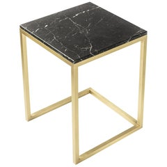 ESOPO Modern Handmade Brass Side Table with Black Marquina Marble Square Top
