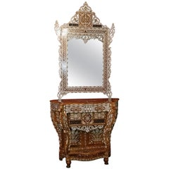 Moroccan Bone and Mother of Pearl Inlaid Console Table and Mirror