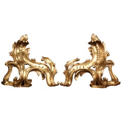 Pair of 19th Century French Louis XV Bronze Doré Chenets Andirons