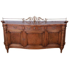 Karges French Louis XVI Style Walnut and Burl Wood Sideboard or Bar Cabinet